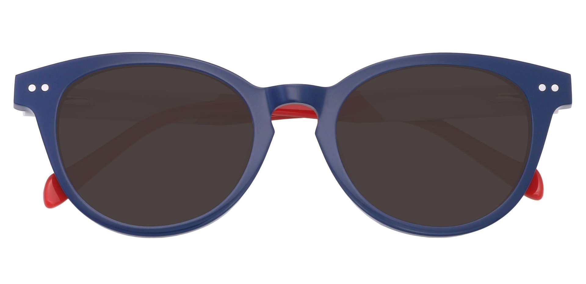 Common Oval Non-Rx Sunglasses - Blue Frame With Gray Lenses