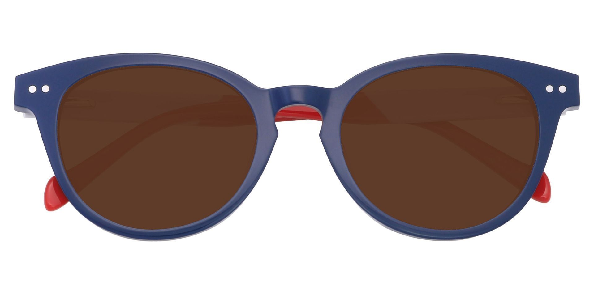 Common Oval Reading Sunglasses - Blue Frame With Brown Lenses