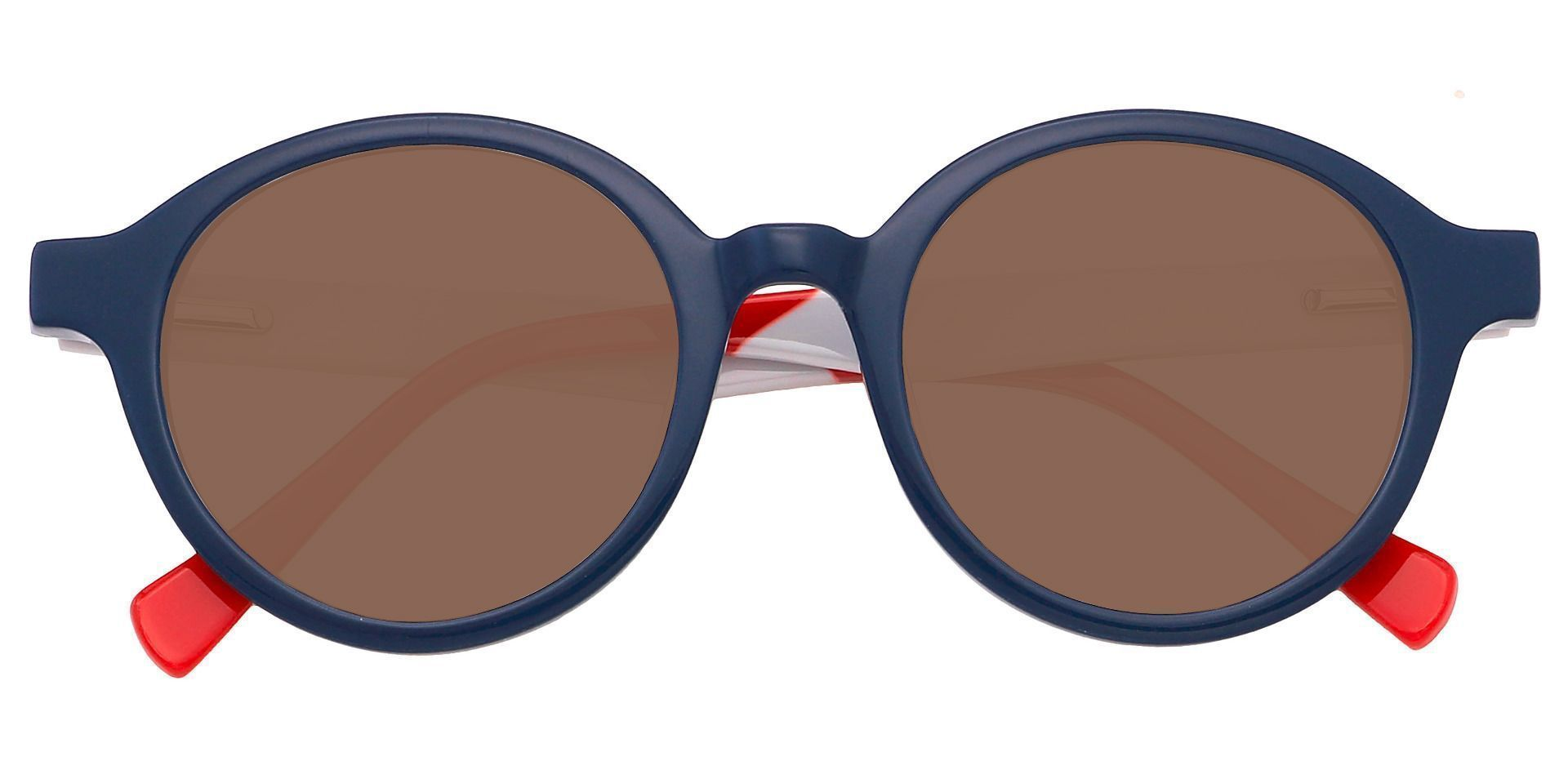 Dudley Round Reading Sunglasses - Blue Frame With Brown Lenses