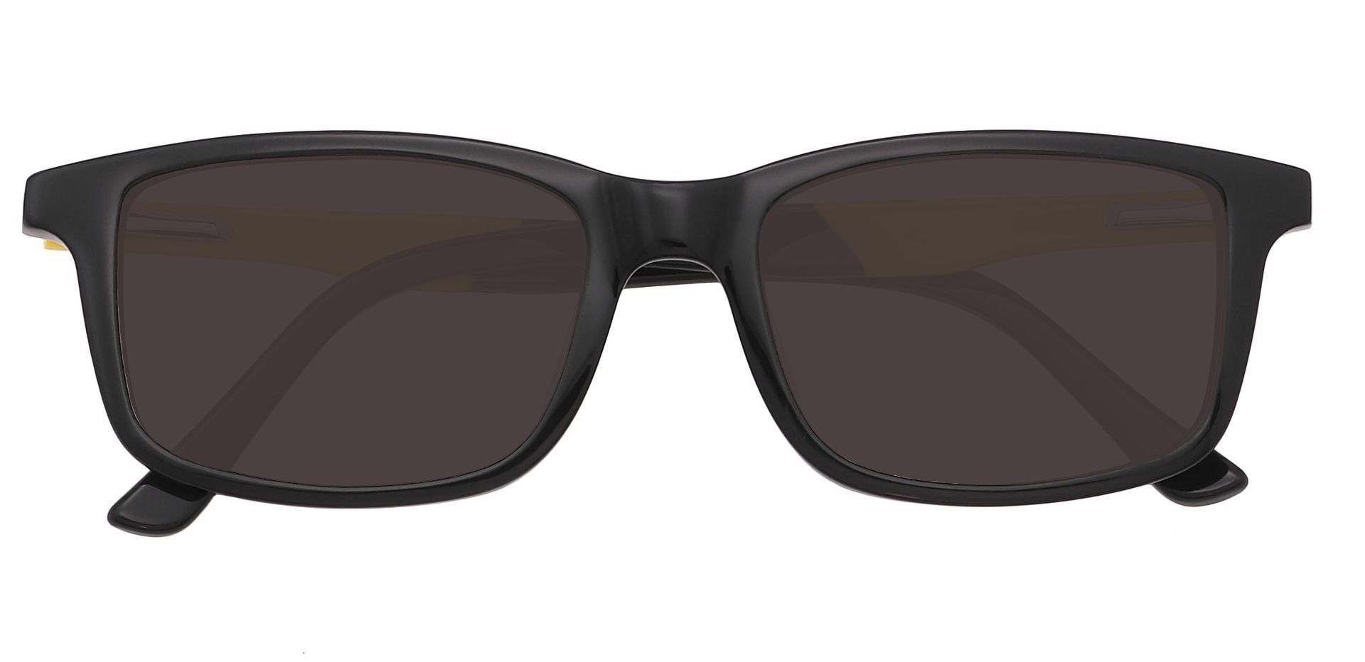 Rivers Rectangle Single Vision Sunglasses - Black Frame With Gray Lenses
