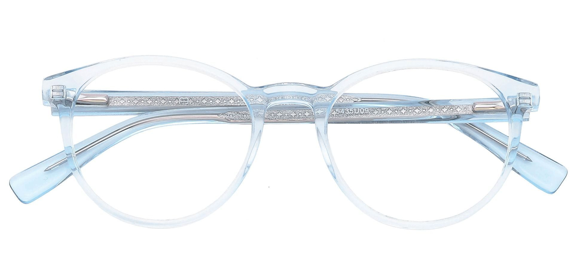 Stellar Oval Non-Rx Glasses - The Frame Is Clear With Light Blue
