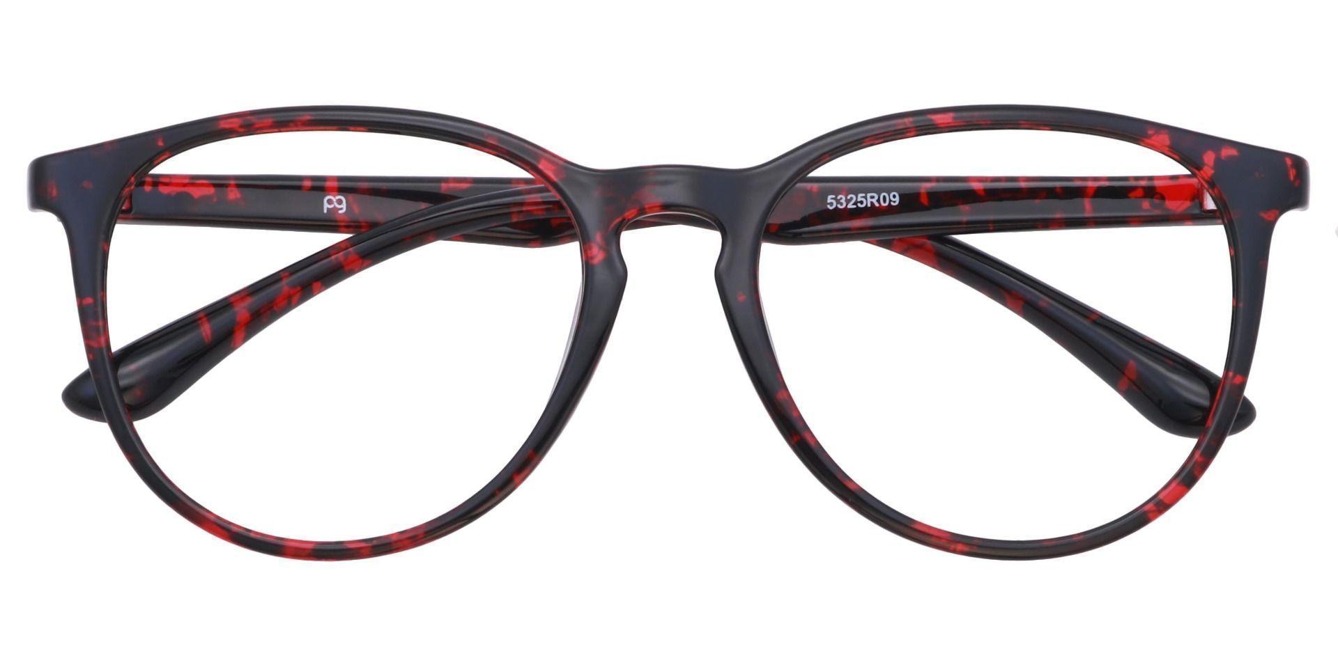 Maple Oversized Oval Eyeglasses Frame - Dark Red Havana