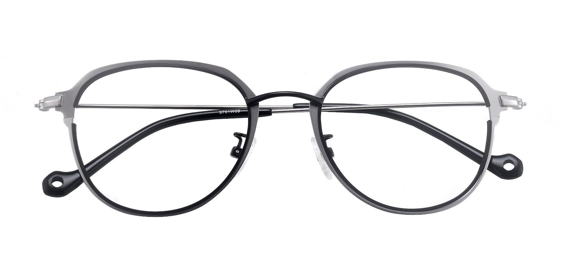 Murray Geometric Blue Light Blocking Glasses - The Frame Is Black And Silvery