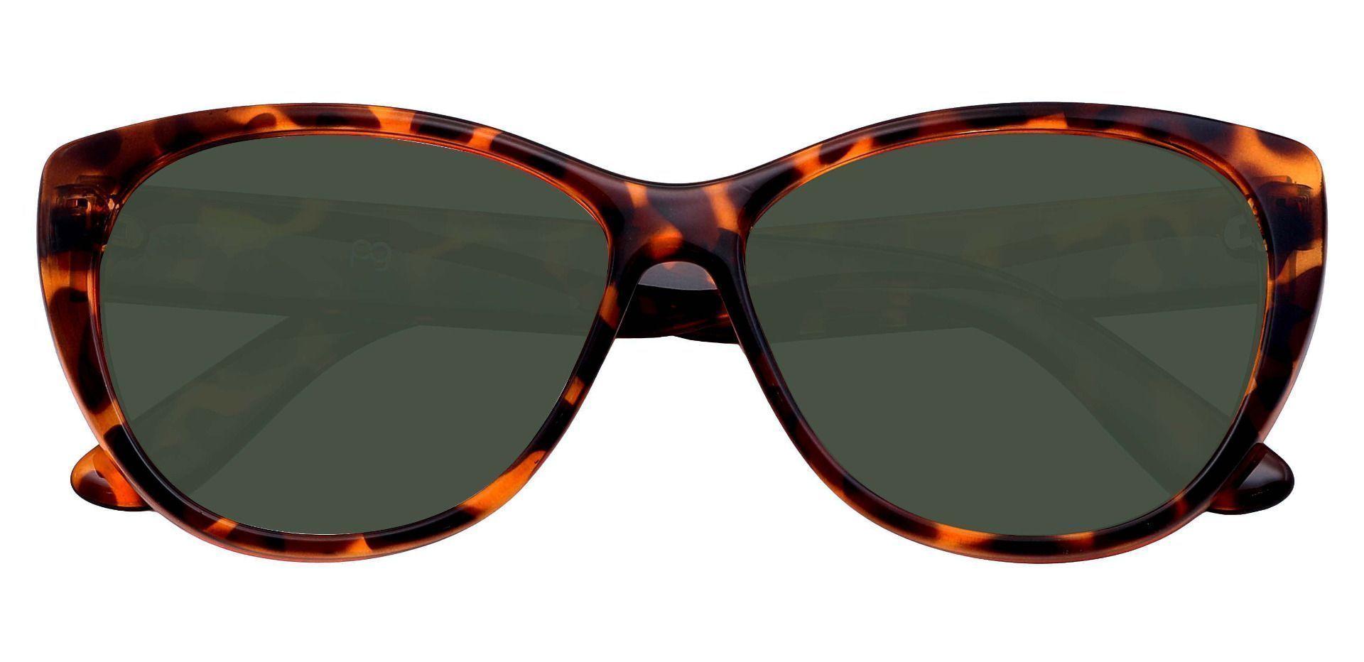 Lynn Cat-Eye Prescription Sunglasses - Tortoise Frame With Green Lenses