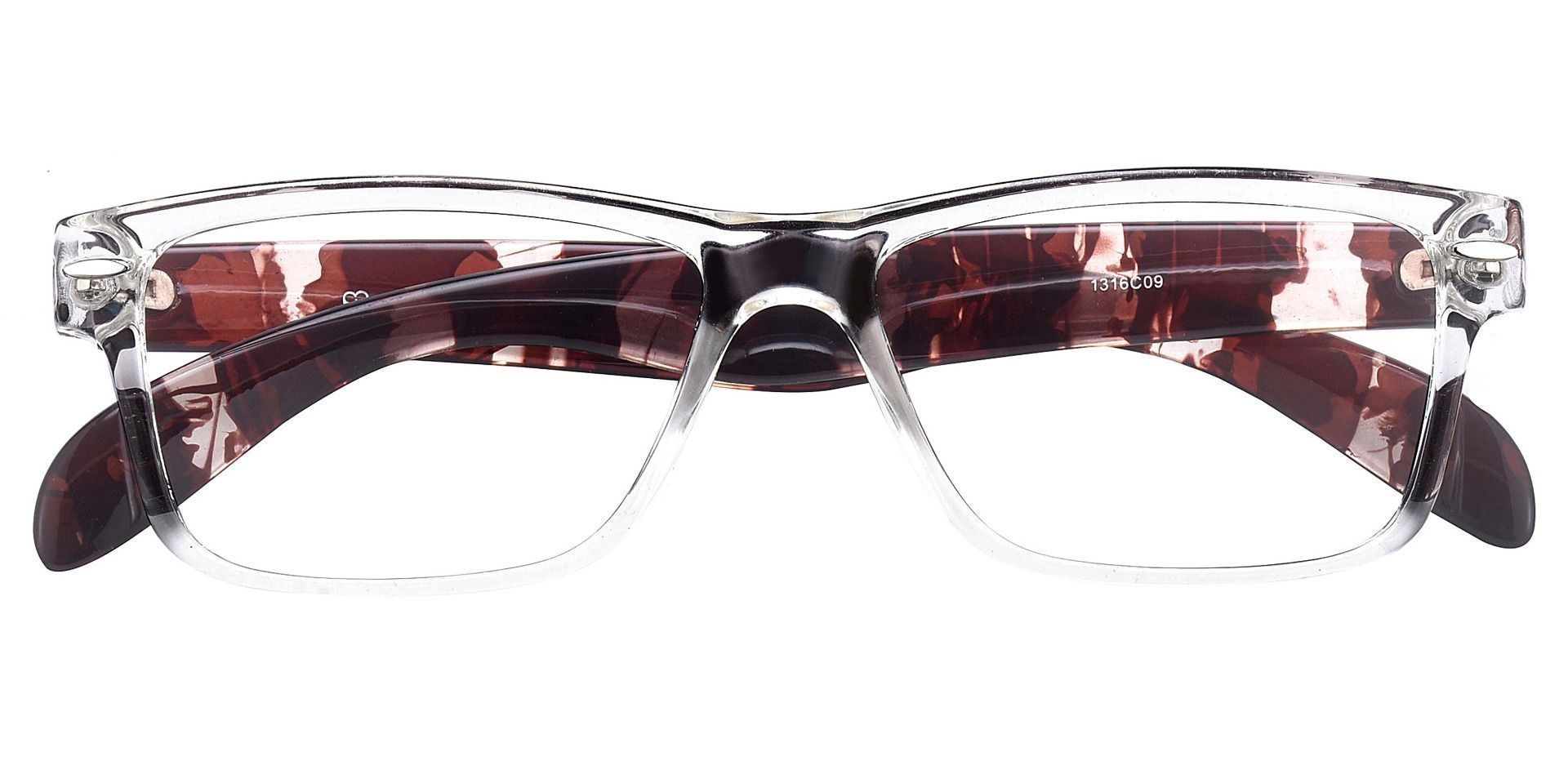 Tate Rectangle Prescription Glasses - The Frame Is Clear And Tortoise