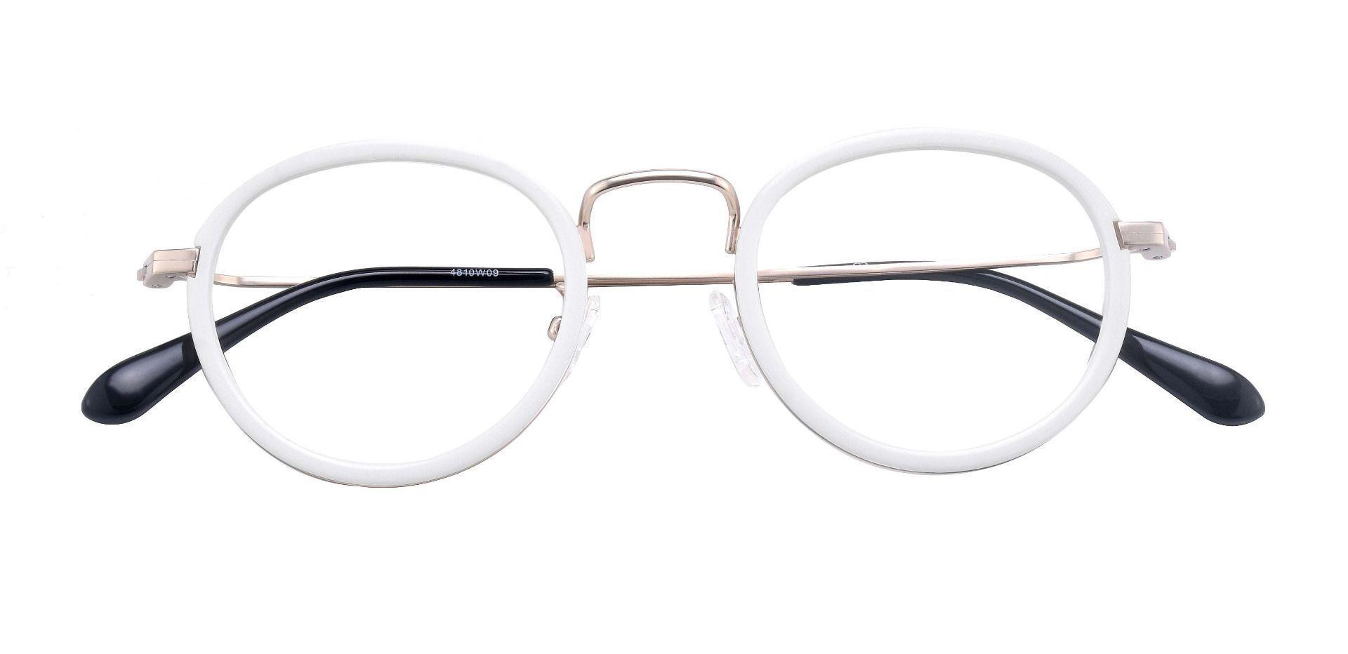 Briscoe Oval Prescription Glasses - White Brushed Silver