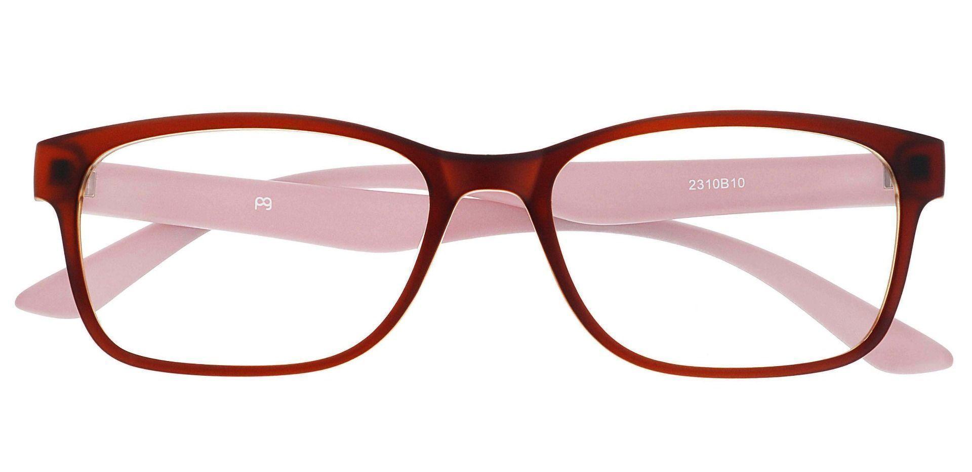 Osmond Rectangle Prescription Glasses - Matte Brown Pink