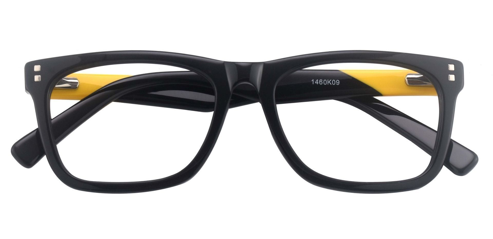 Liberty Rectangle Eyeglasses Frame - The Frame Is Black And Gold