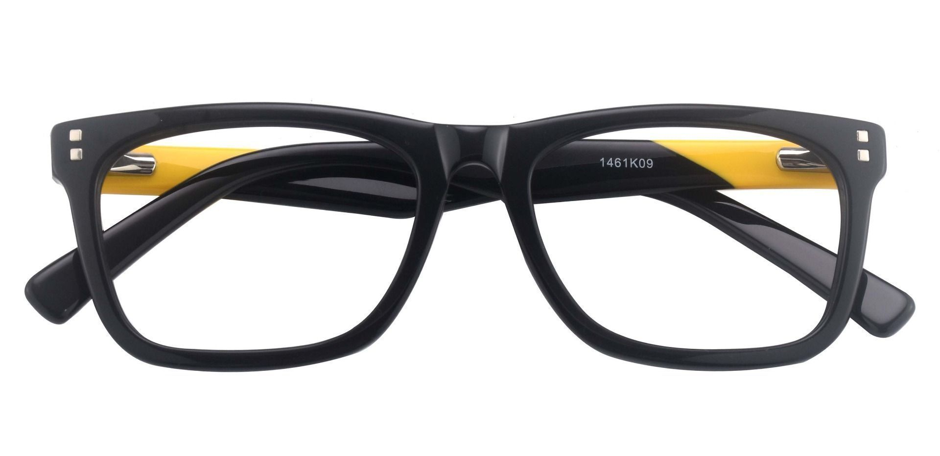 Blitz Rectangle Prescription Glasses - The Frame Is Black And Yellow
