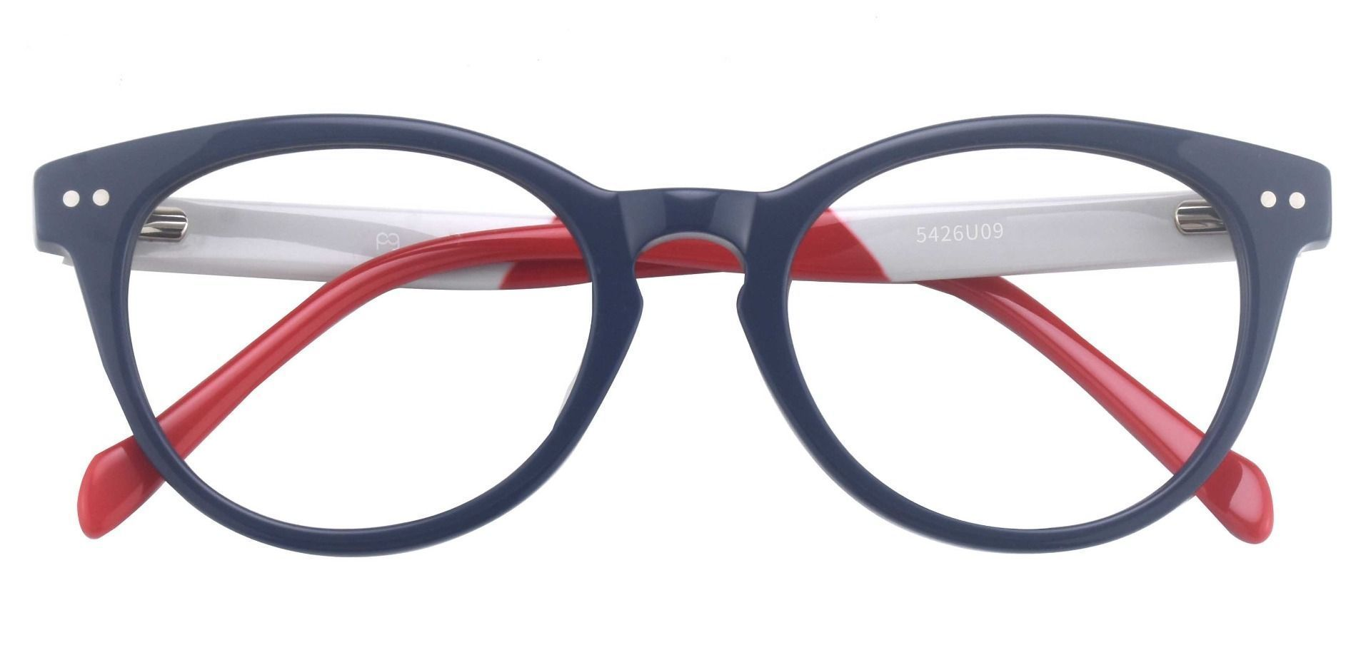 Common Oval Prescription Glasses - The Frame Is Blue And Red