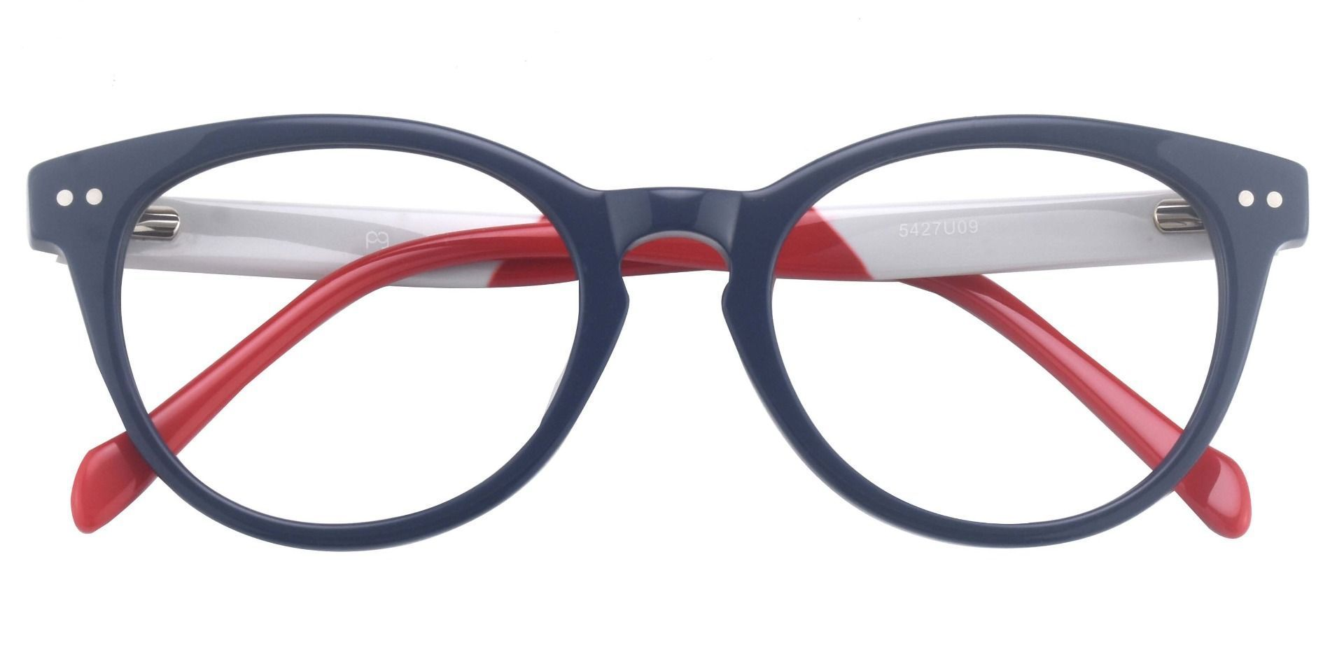 Revere Oval Prescription Glasses - The Frame Is Blue And Red