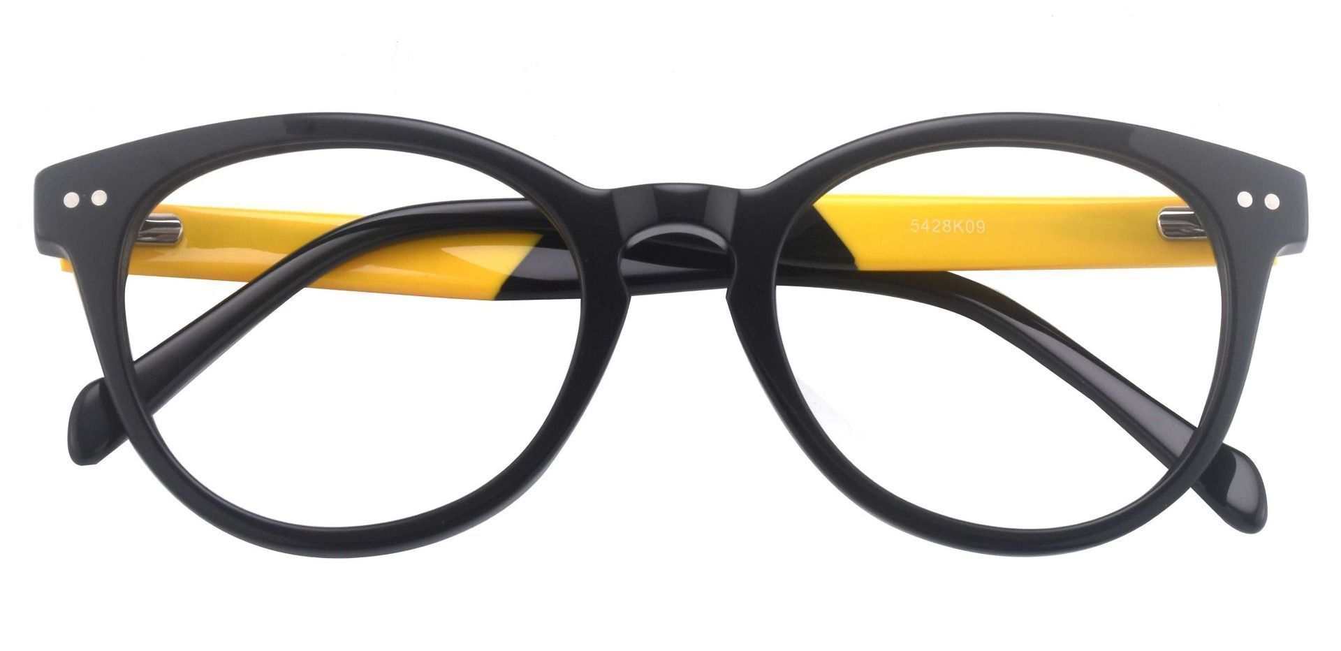 Forbes Oval Non-Rx Glasses - The Frame Is Black And Gold