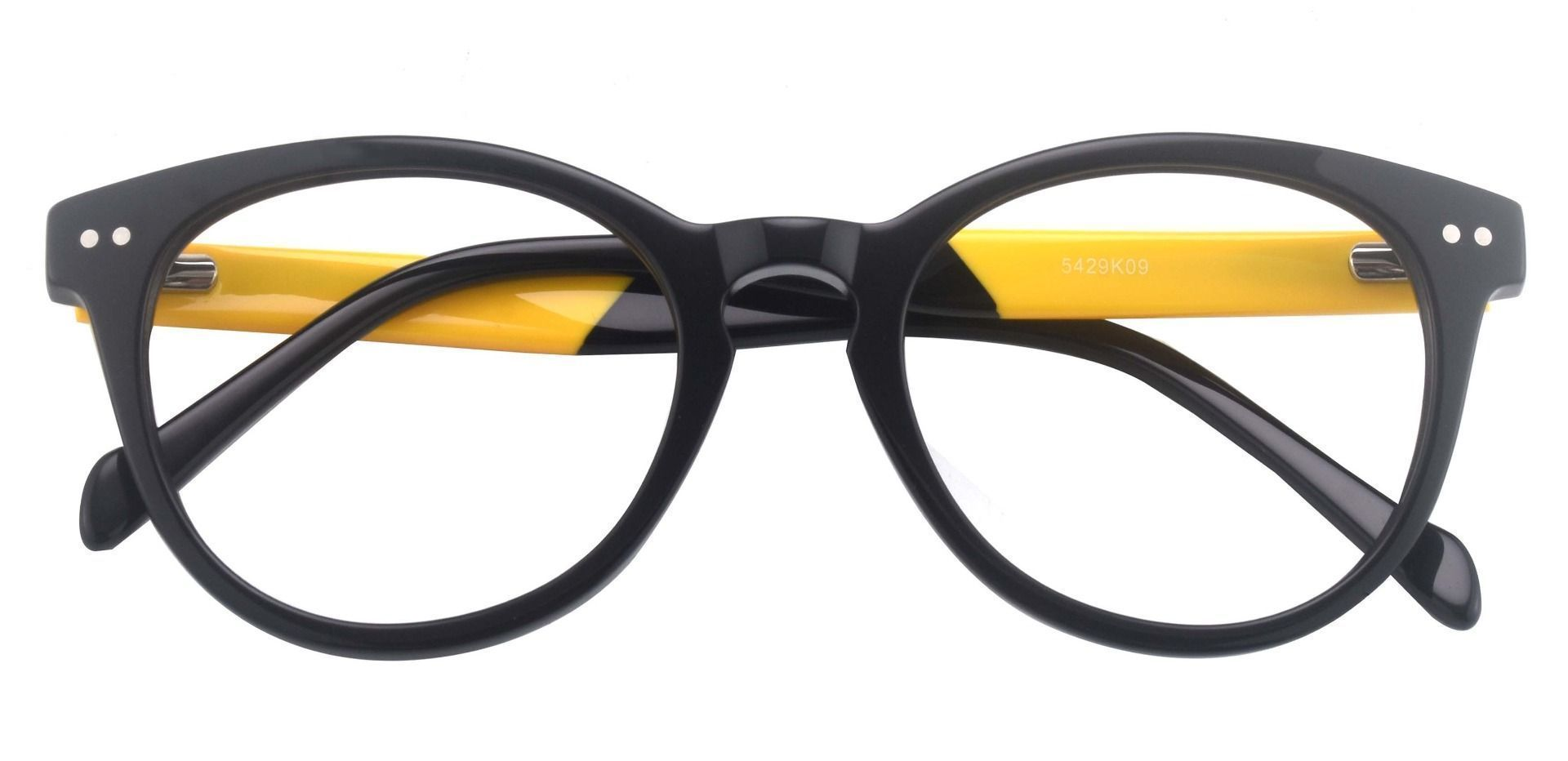 Oakland Oval Blue Light Blocking Glasses - The Frame Is Black And Gold