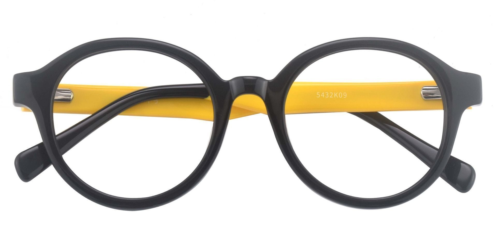 Champ Round Progressive Glasses - The Frame Is Black And Gold