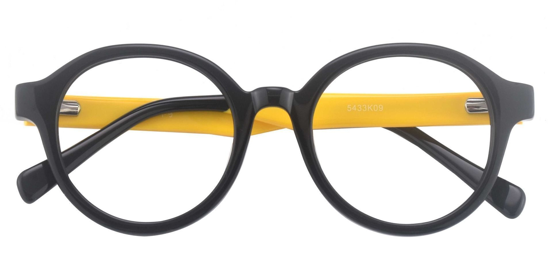 Steel City Round Reading Glasses - The Frame Is Black And Gold