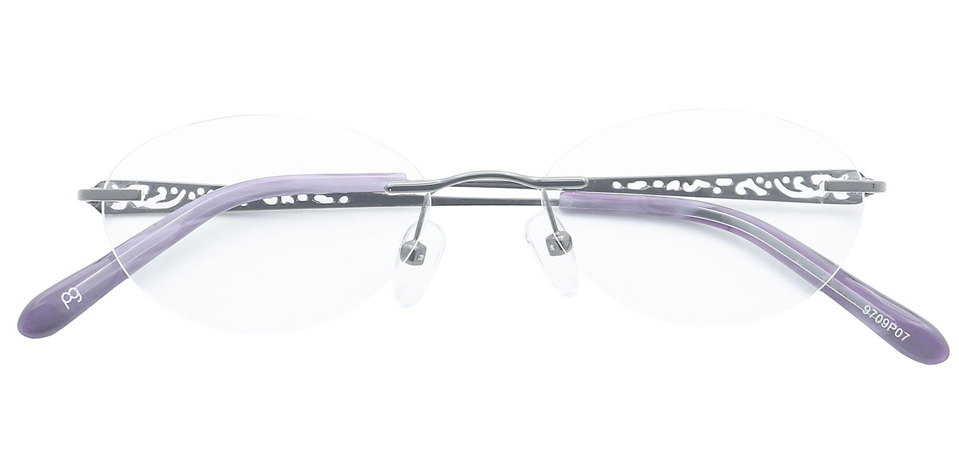 Christina Rimless Blue Light Blocking Glasses - The Frame Is Black And Purple