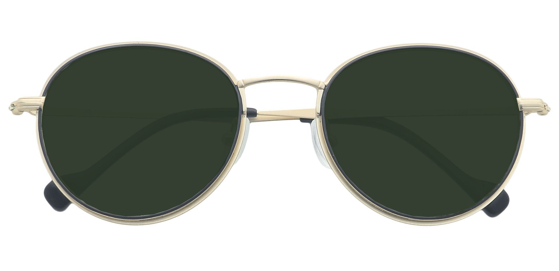 Page Oval Non-Rx Sunglasses - Yellow Frame With Green Lenses