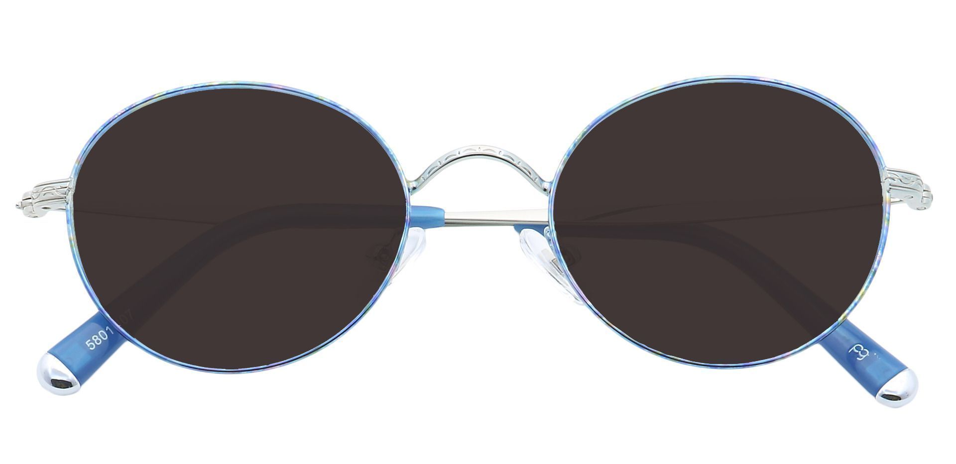 Skylar Round Prescription Sunglasses - Blue Frame With Gray Lenses