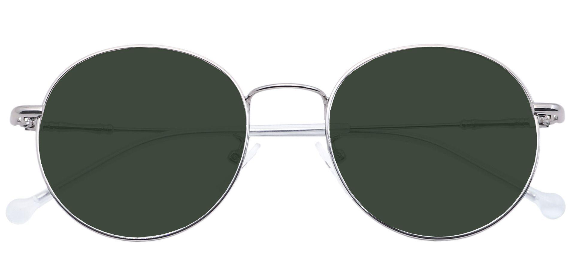 Magnus Round Prescription Sunglasses - Gray Frame With Green Lenses