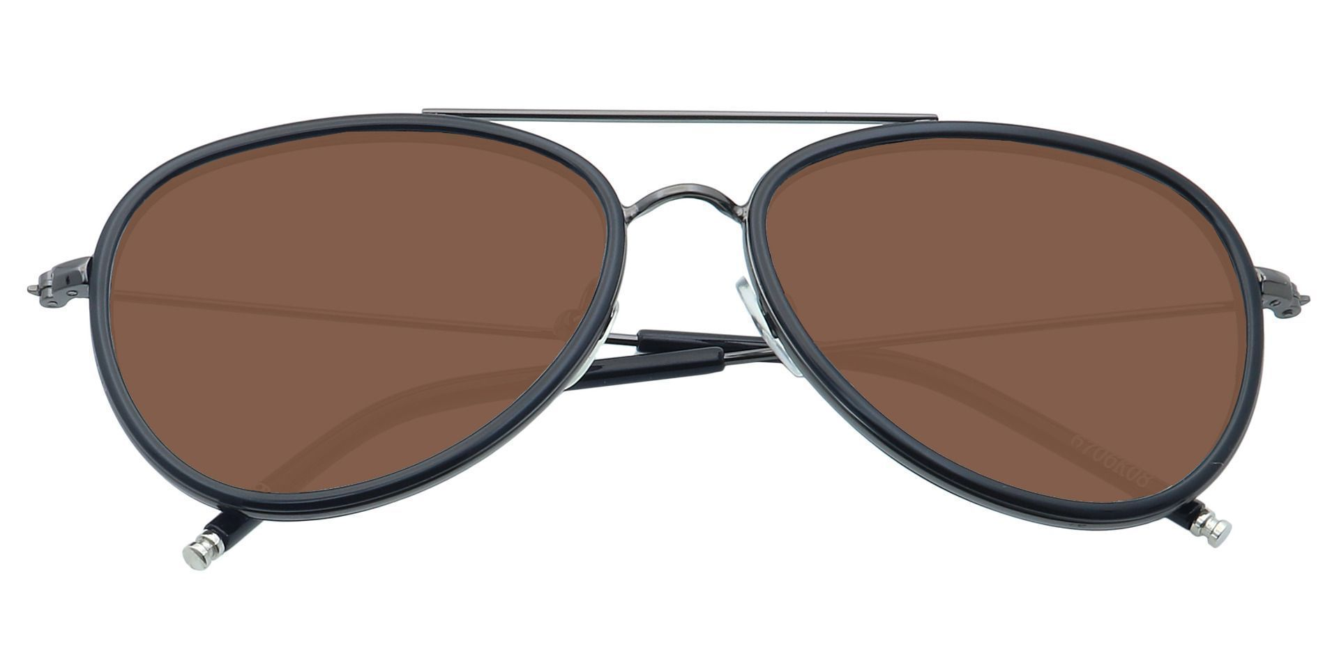 Ace Aviator Single Vision Sunglasses - Black Frame With Brown Lenses