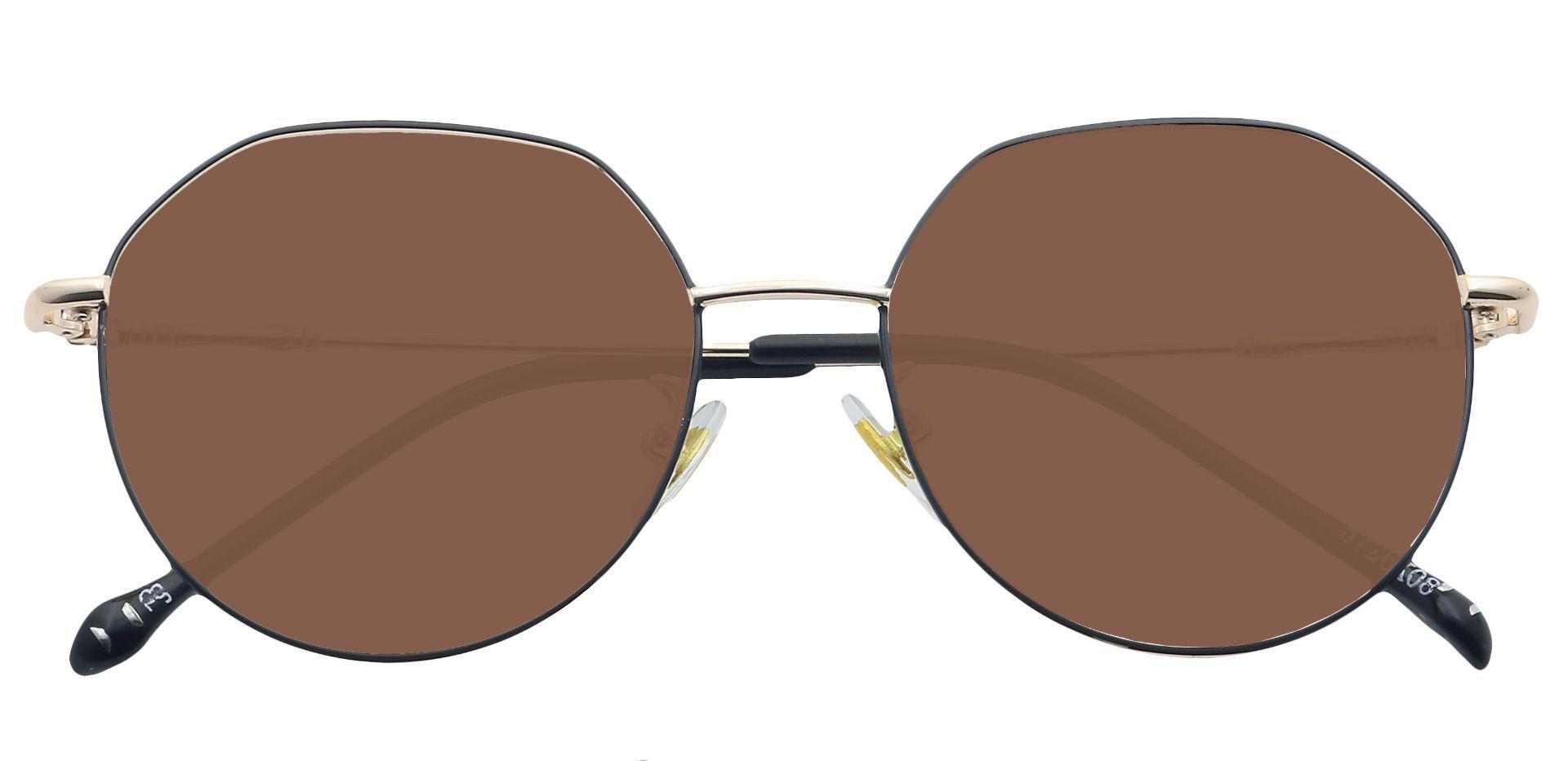 Wesley Round Prescription Sunglasses - Black Frame With Brown Lenses