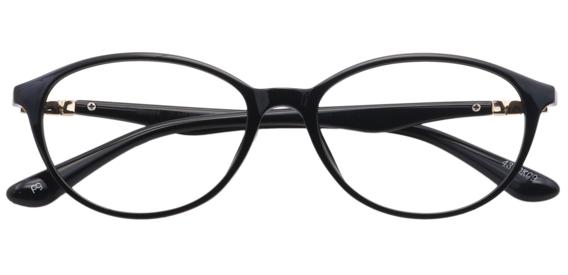 Vann Oval Prescription Glasses - Shiny Black/gold Accents