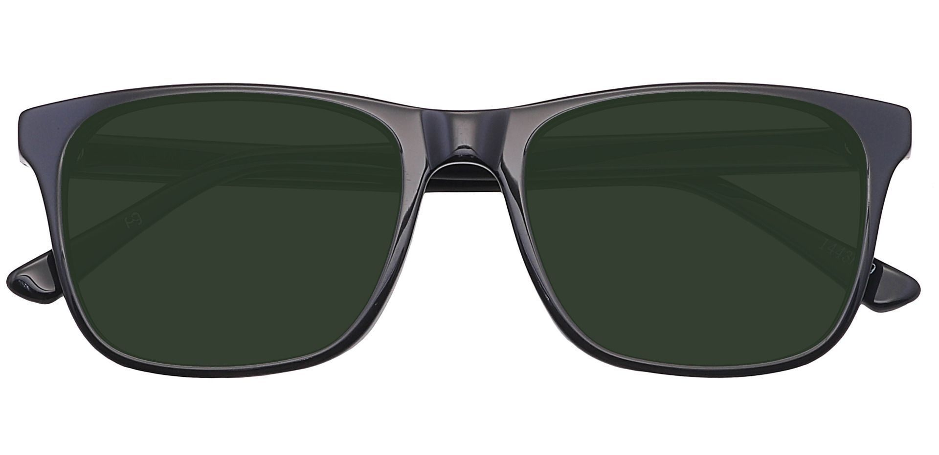 Cantina Square Prescription Sunglasses - Black Frame With Green Lenses