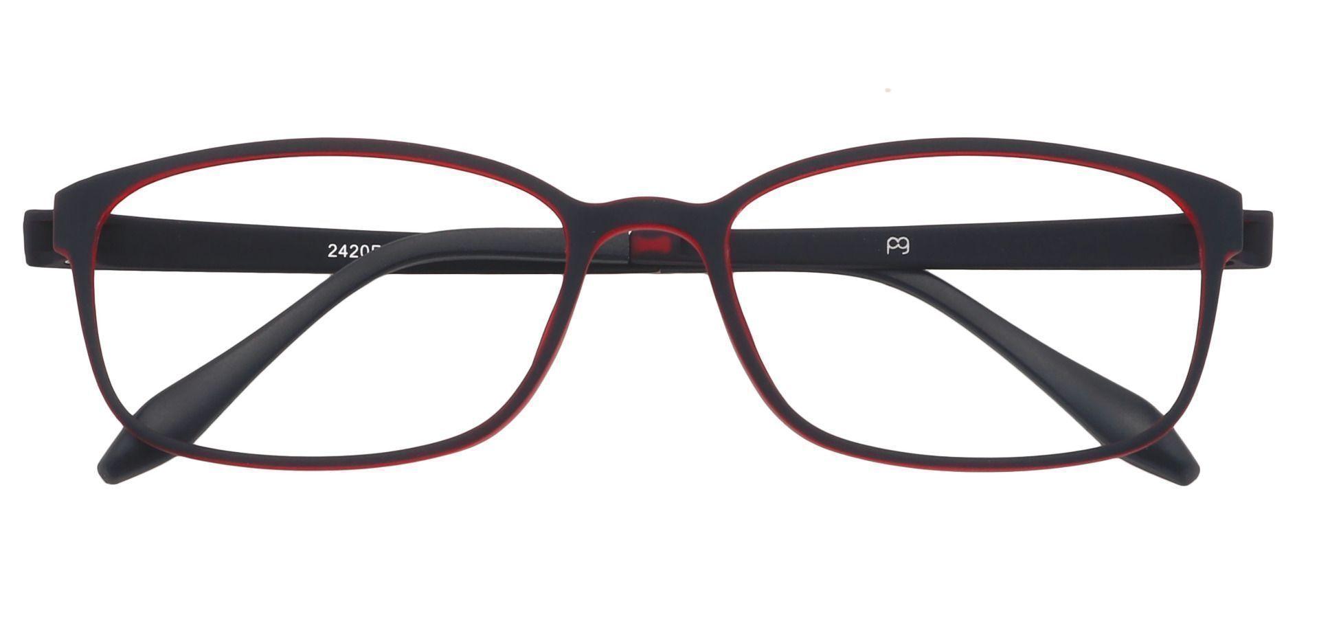 Merlot Rectangle Eyeglasses Frame - Matte Black/red