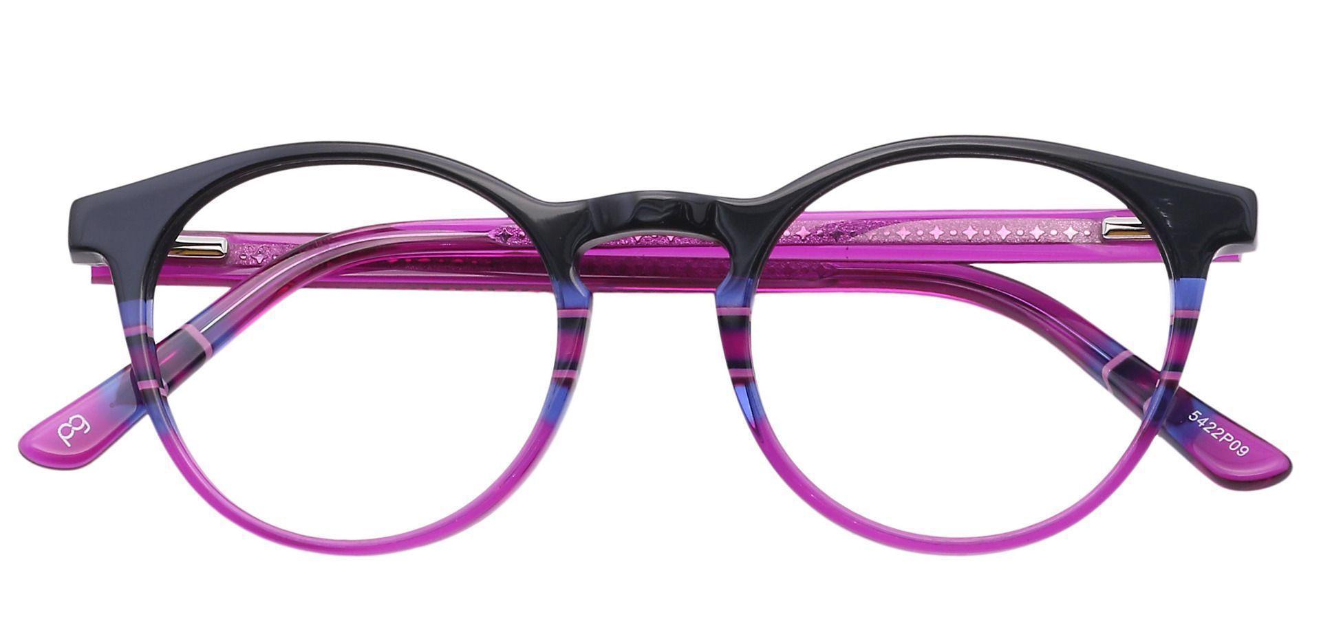 Jellie Round Lined Bifocal Glasses - Black/blue Fuschia Stripe  Purple