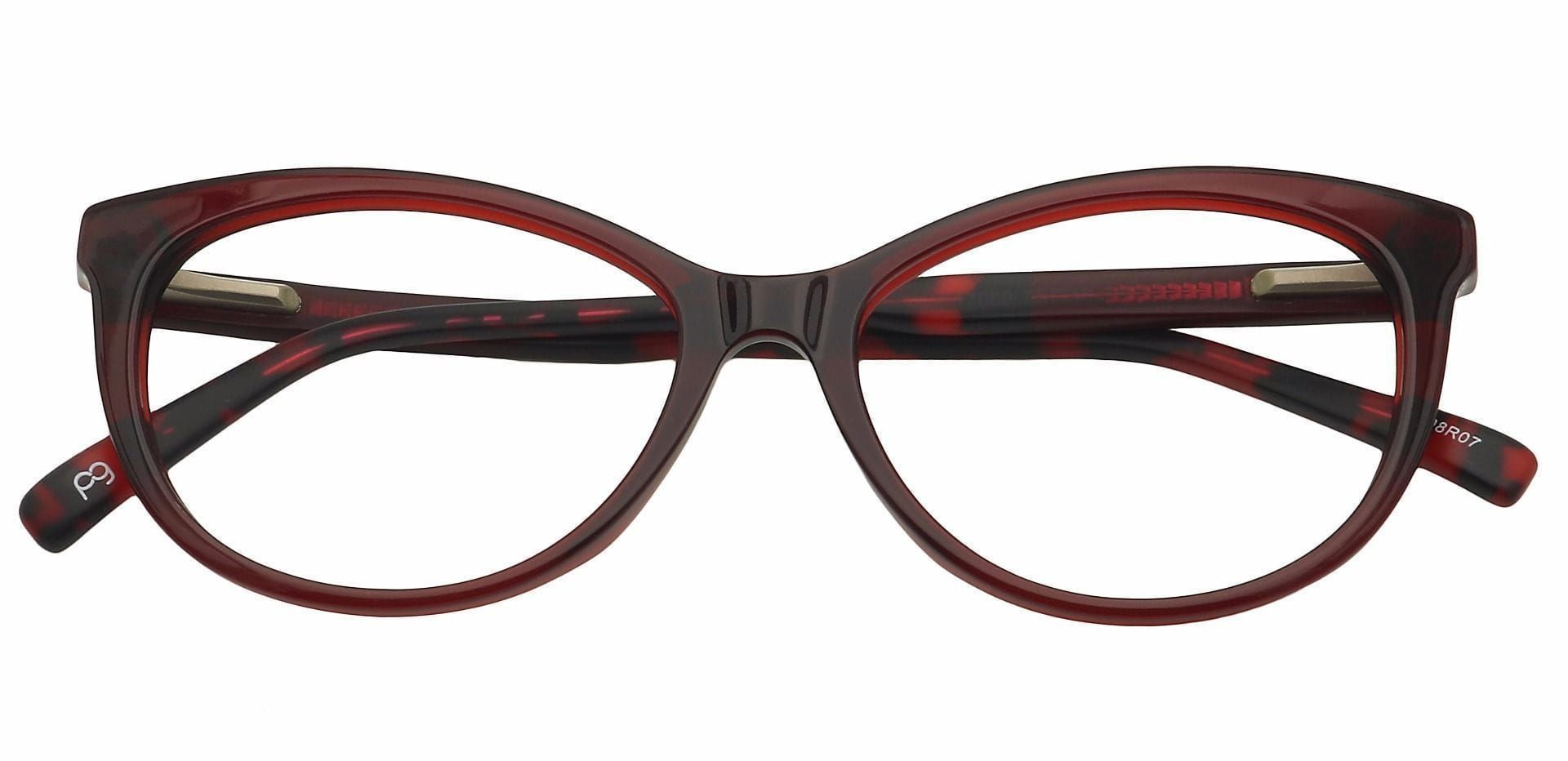 Iris Cat-Eye Lined Bifocal Glasses - Red