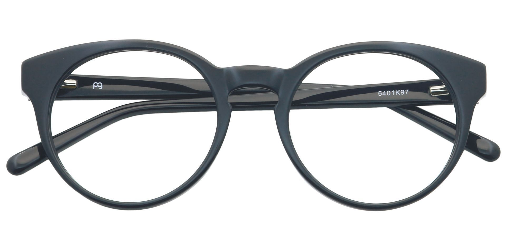Hip Round Eyeglasses Frame - Shiny Black