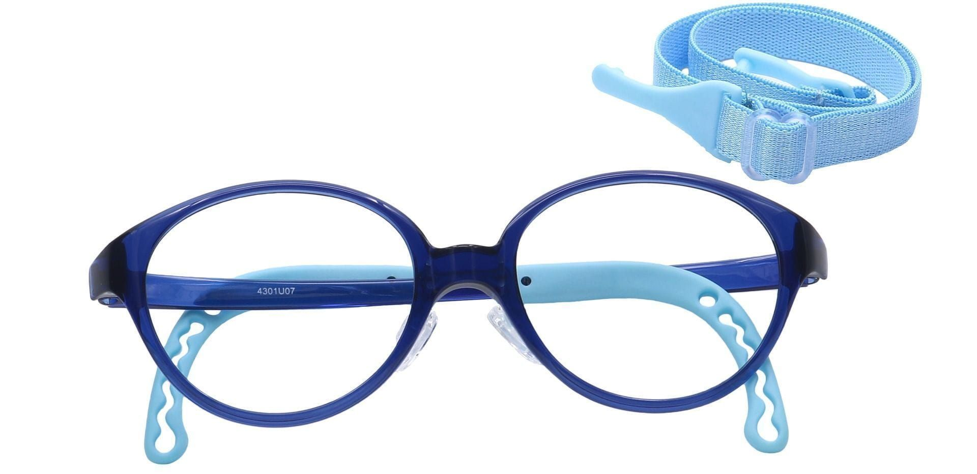 Zany Oval Prescription Glasses - Navy/turquoise