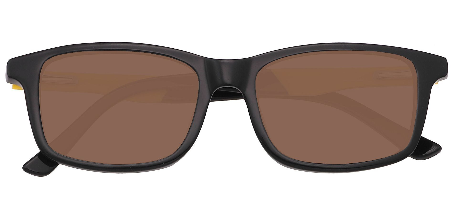 Allegheny Rectangle Single Vision Sunglasses - Black Frame With Brown Lenses