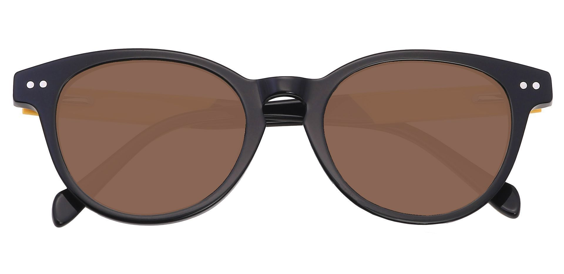 Oakland Oval Reading Sunglasses - Black Frame With Brown Lenses