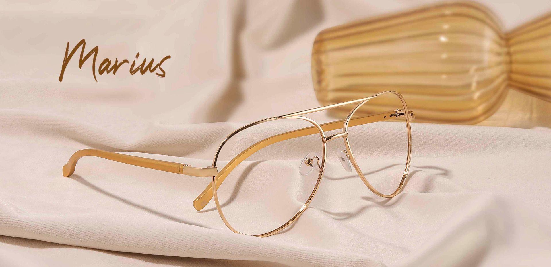 Marius Aviator Single Vision Glasses - Gold