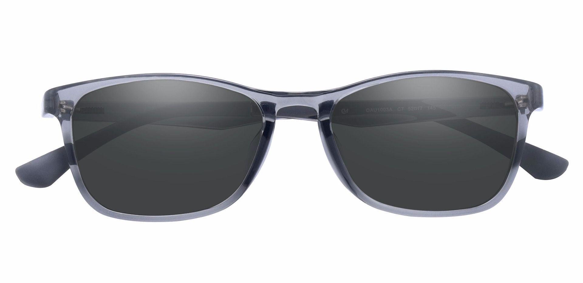 Merritt Rectangle Prescription Sunglasses - Gray Frame With Gray Lenses