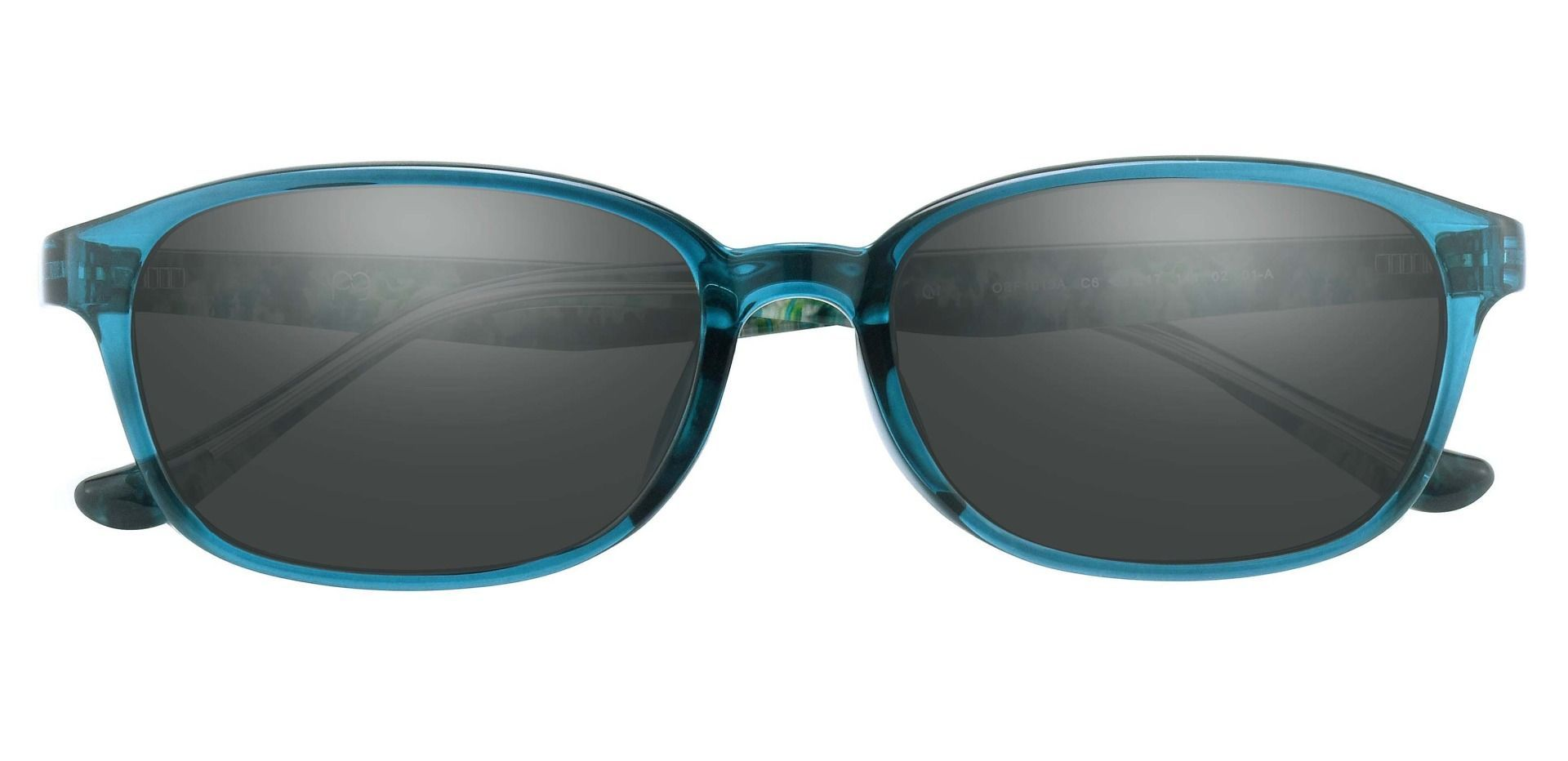 Hemingway Oval Prescription Sunglasses - Blue Frame With Gray Lenses