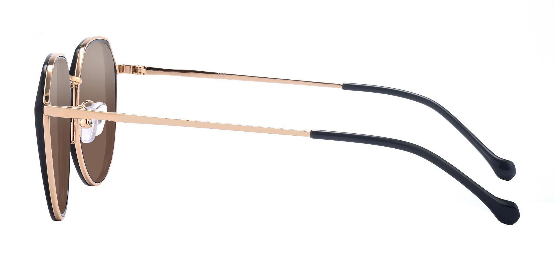 Yorke Geometric Prescription Sunglasses - Black Frame With Brown Lenses