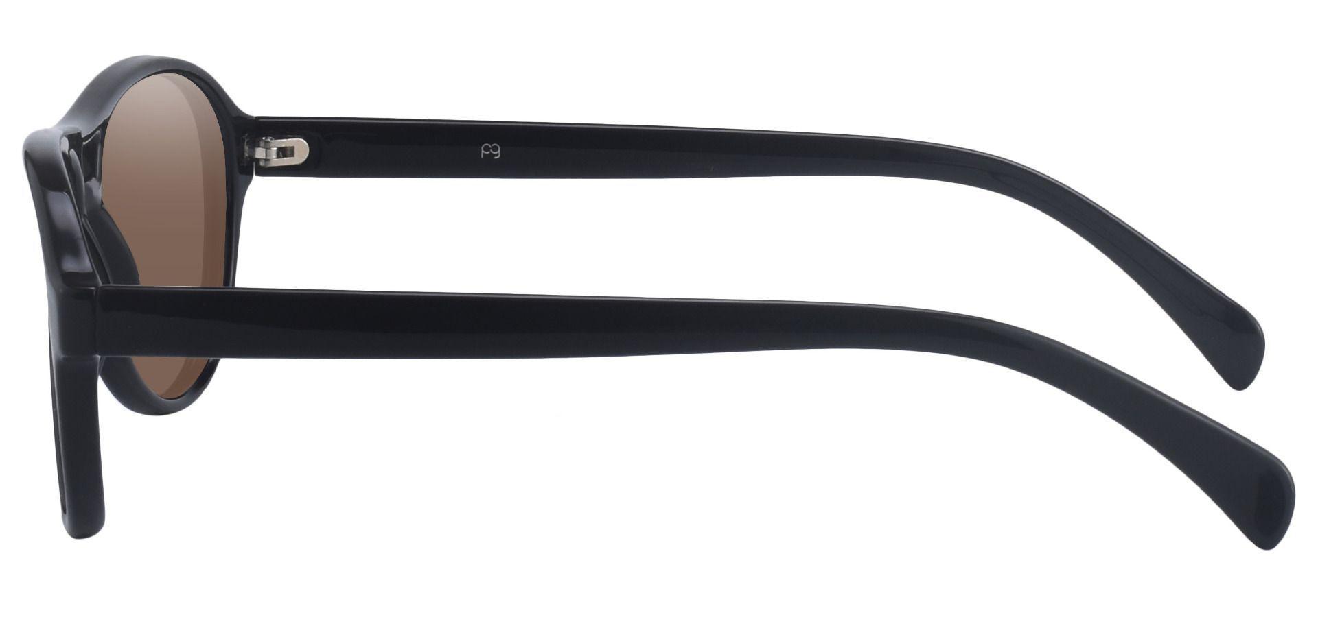 Sosa Aviator Prescription Sunglasses - Black Frame With Brown Lenses