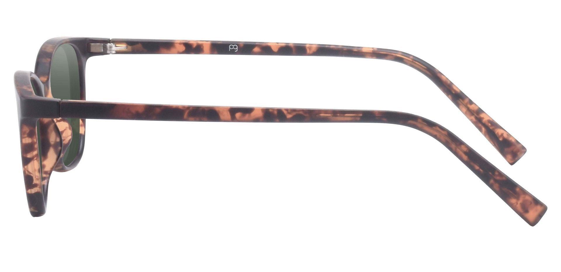 Sasha Classic Square Prescription Sunglasses - Tortoise Frame With Green Lenses