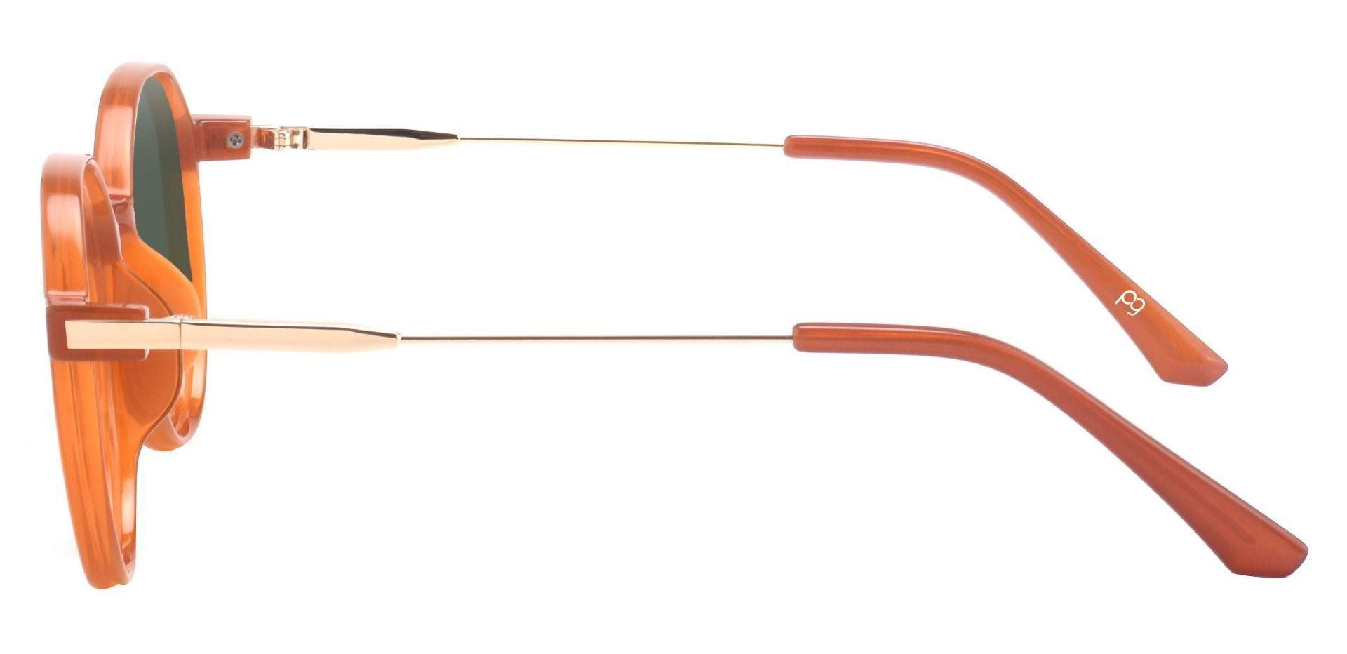 Daytona Geometric Prescription Sunglasses - Brown Frame With Green Lenses