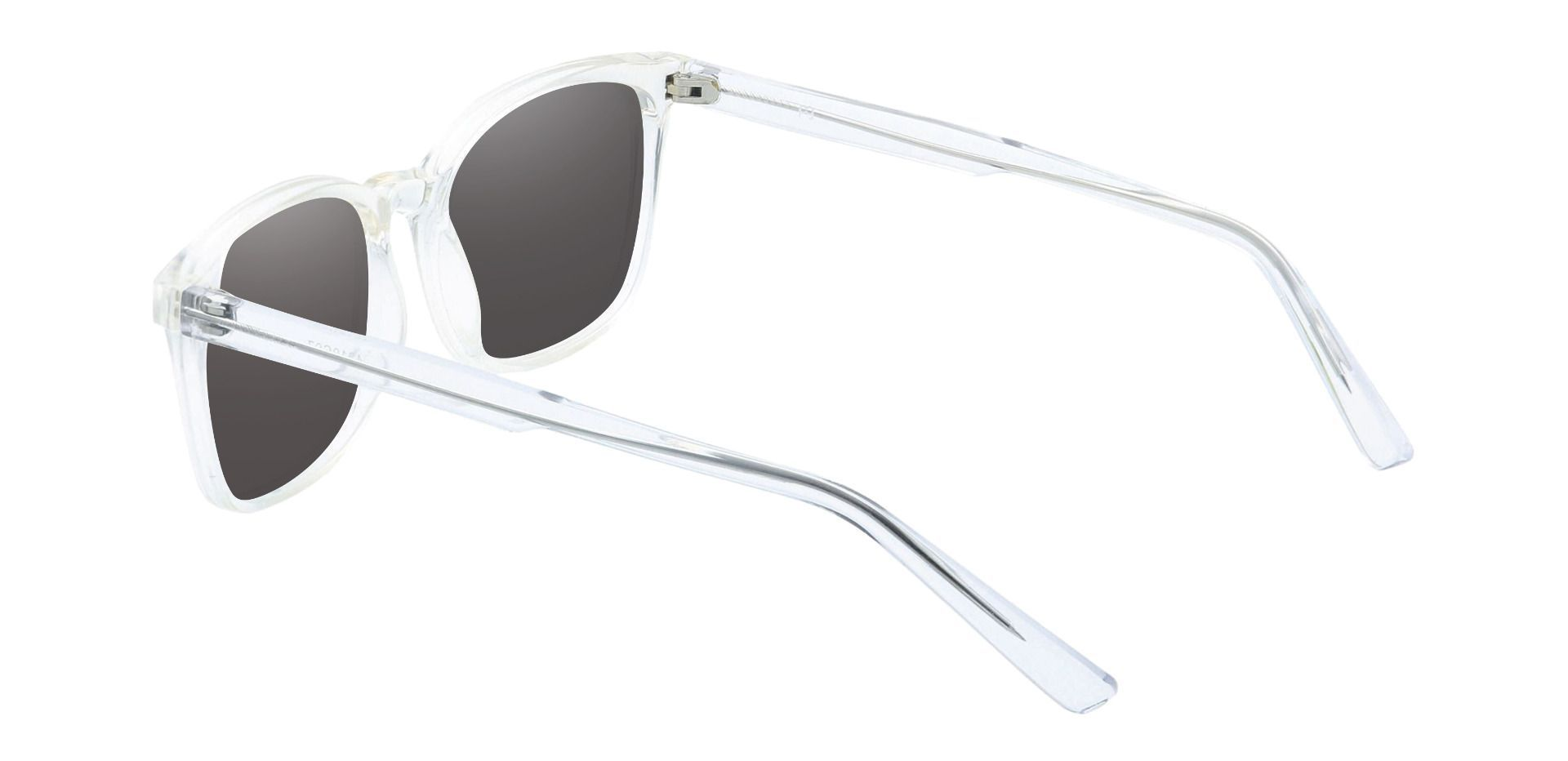 Windsor Rectangle Prescription Sunglasses - Clear Frame With Gray Lenses