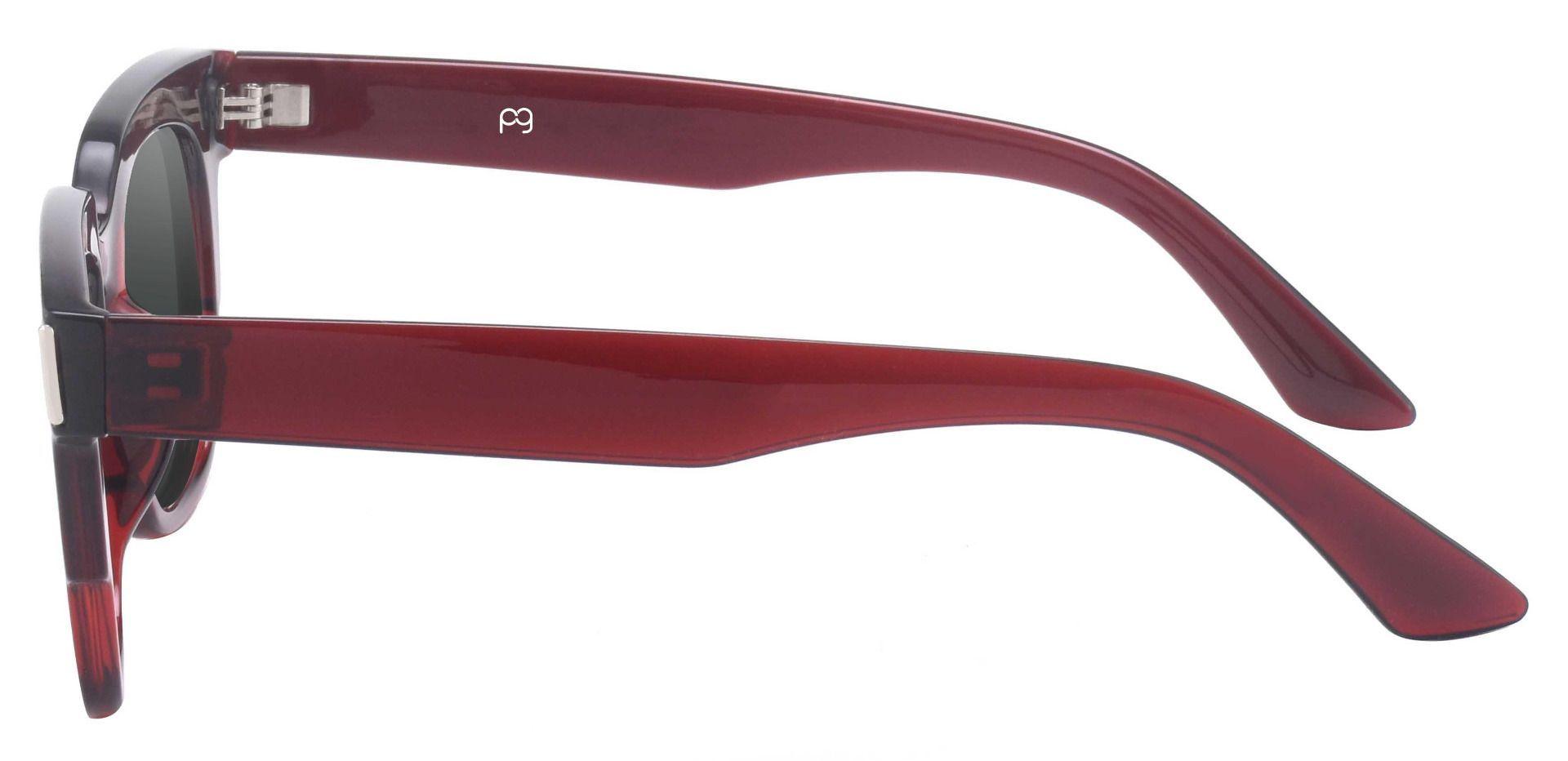 Ardent Square Progressive Sunglasses - Red Frame With Gray Lenses