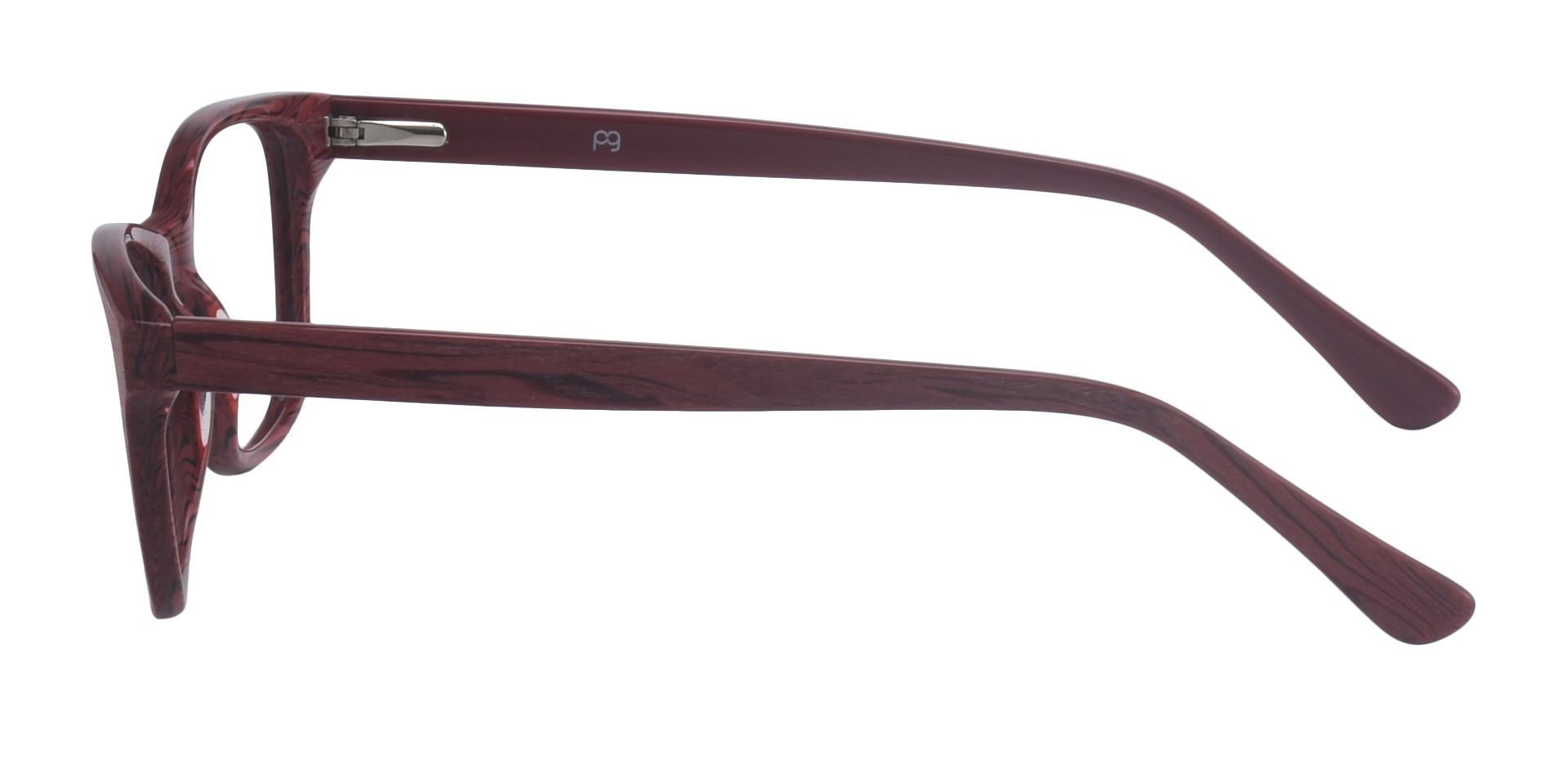 Grain Rectangle Prescription Glasses - Red