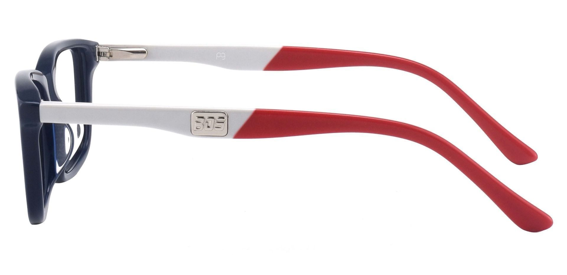 Hub Rectangle Eyeglasses Frame - Blue White Red