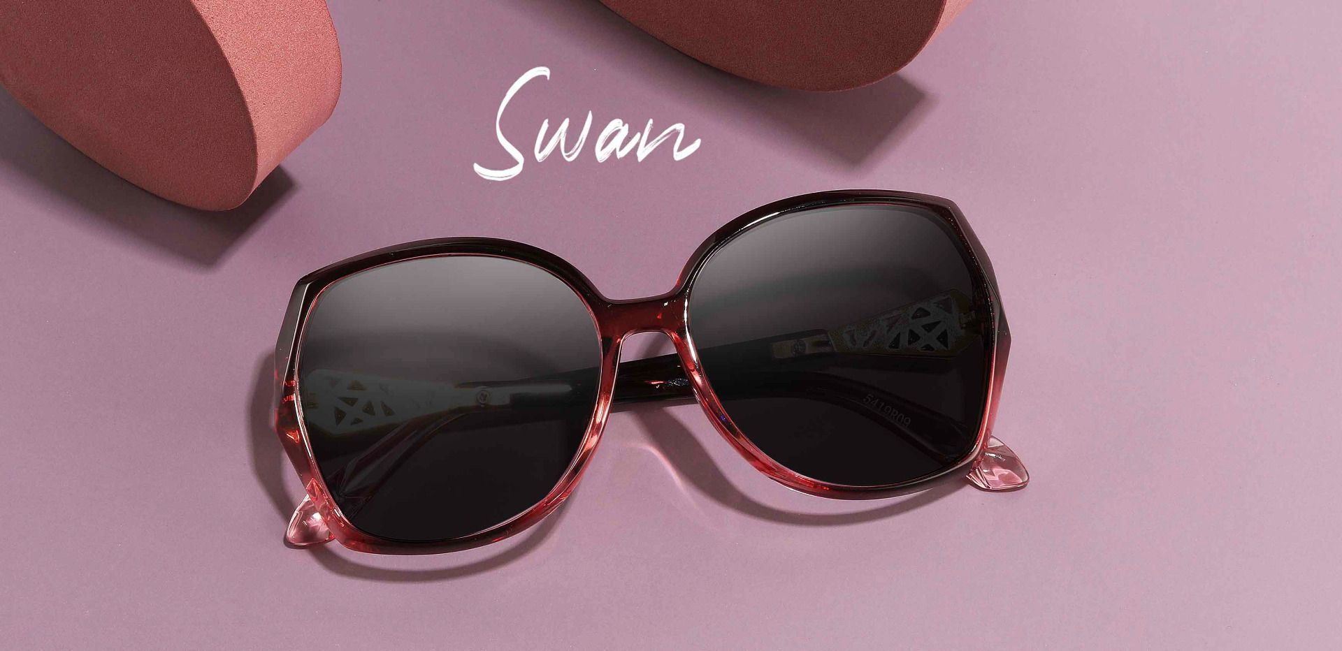 Swan Geometric Single Vision Sunglasses - Red Frame With Gray Lenses