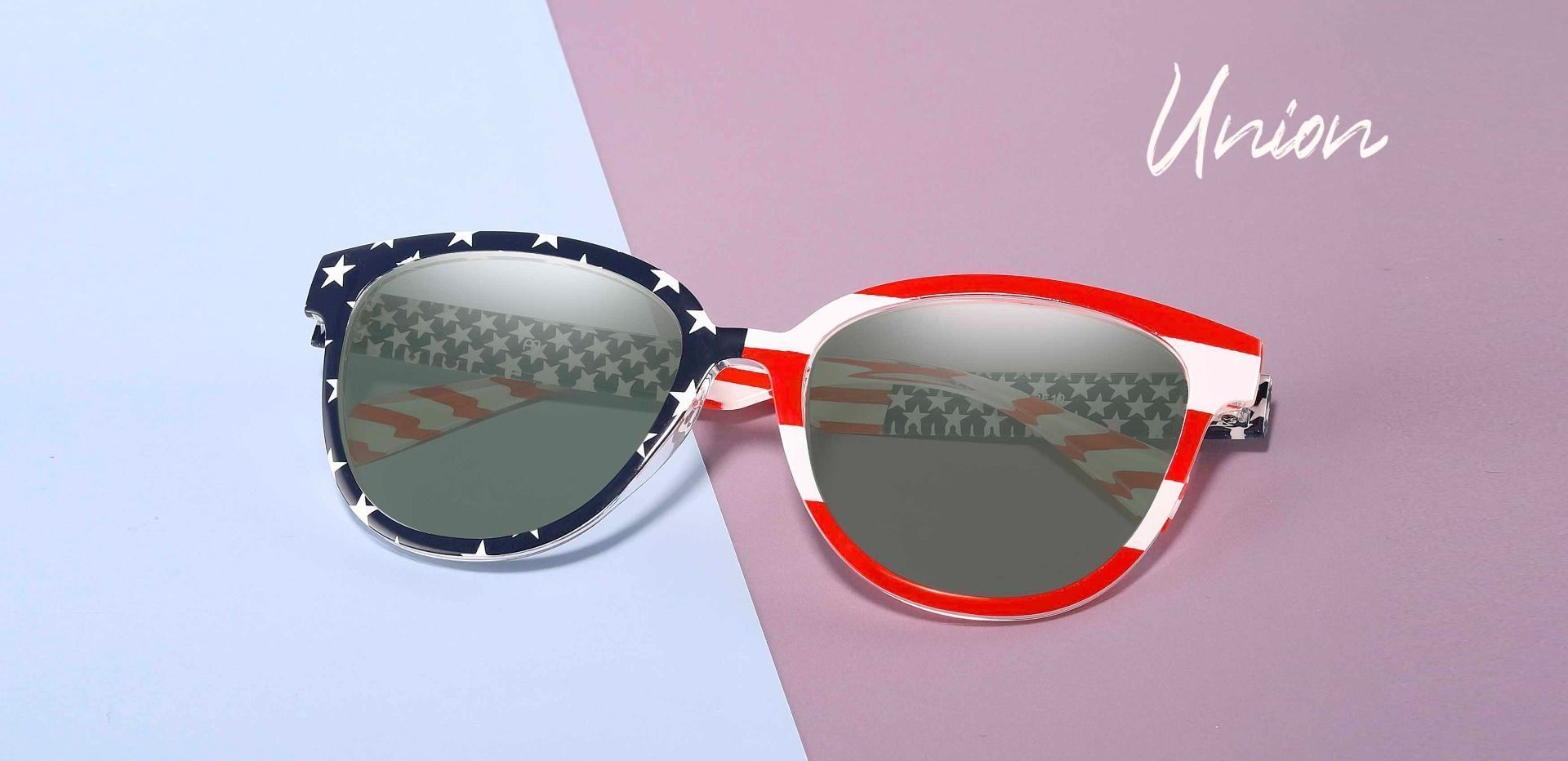Union Square Progressive Sunglasses - Floral Frame With Green Lenses