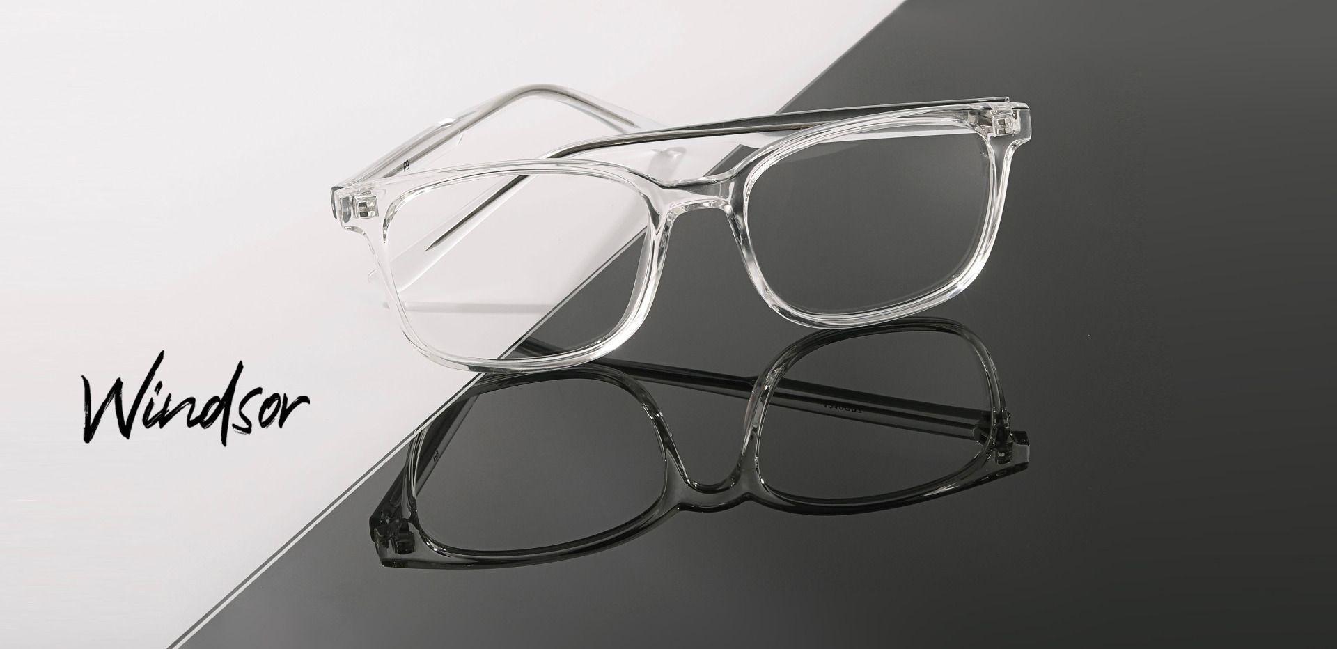 Windsor Rectangle Eyeglasses Frame - Crystal