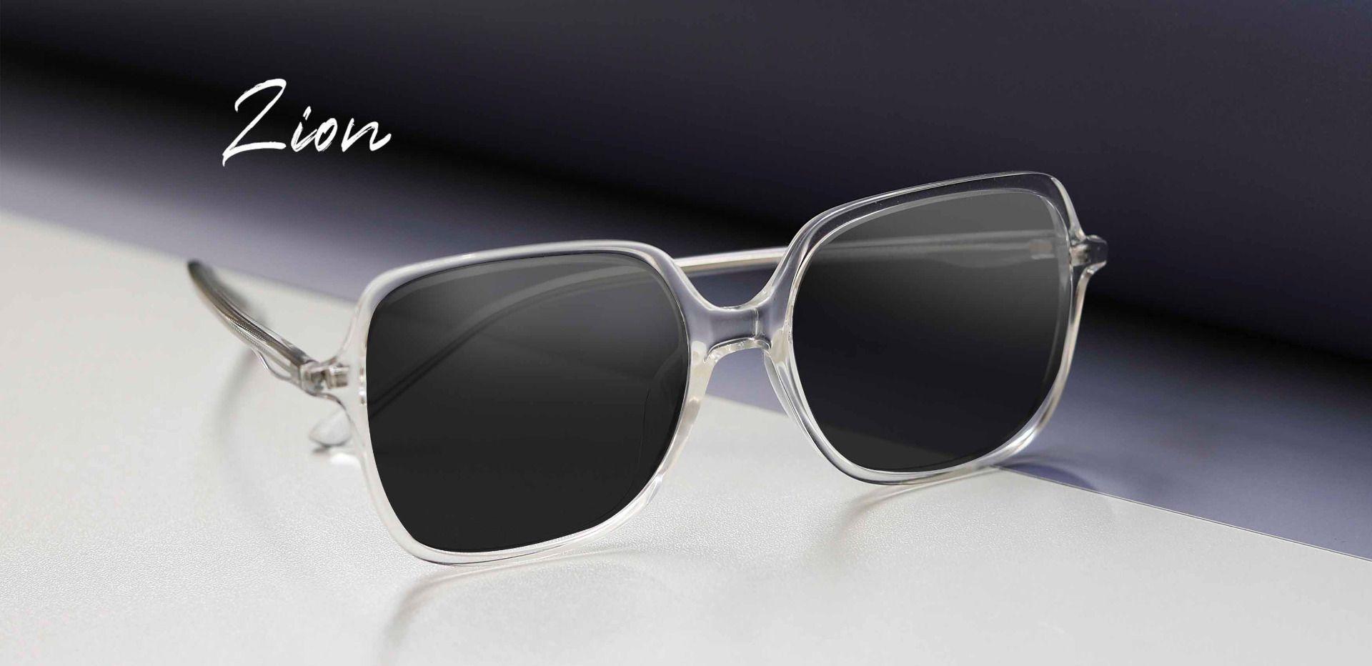 Zion Square Prescription Sunglasses - Clear Frame With Gray Lenses