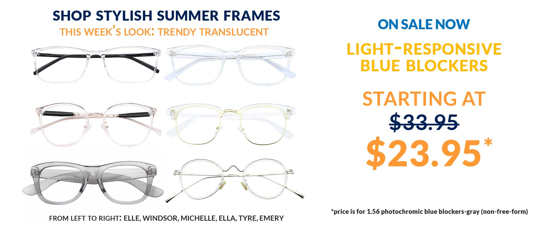 Shop Stylish Summer Frames; This Week's Look:Trendy Translucent.